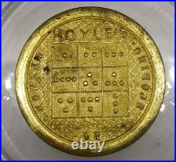 (1840's) HOYLES WHIST TOKENS BRASS CASE with 3 COUNTERS INSIDE VERY RARE SET