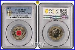 2015 WW1 War Heroes Red Poppy $1 PCGS MS67 #6280 Gold Shield Very Rare With Case