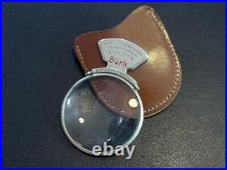 BURK antique German handheld magnifying glass in leather case 2x 3 Very Rare