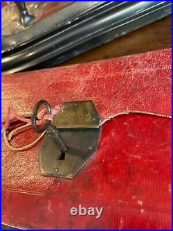 VERY RARE 18thC FRENCH RED LEATHER DOCUMENT CASE WITH ORIGINAL LOCK & KEY