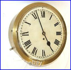 VERY RARE Antique Brass Cased Fusee Wall Clock / Ships Clock 12 inch Dial