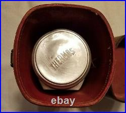 Very Rare 1930's Maroon and Tan Henry Dreyfus Thermos with Leather Case