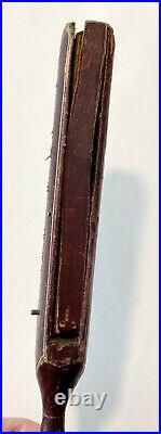 Very Rare Antique VICTORIAN Gentlemans Leather Mechanical Hand Fan in Case