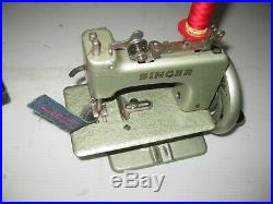Very Rare Colour Vintage Cast Iron Singer Hand Crank Toy Sewing Machine & Casing