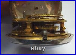 Very Rare Silver Pair Case Pocket Watch Verge Fusee Square Pillars C1771 Working