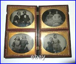 Very rare cased four Ambrotype photos of a family with 6 daughters