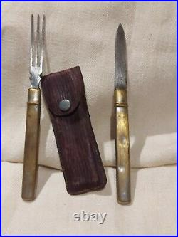 Ww1 German Fork And Knife Field Set. Very Rare Silvered Brass+ Case Wwi